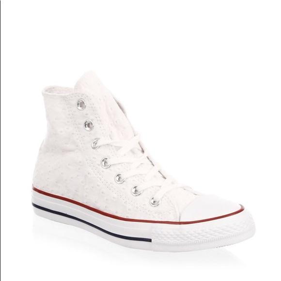 NWT Converse White Embroidered Garnet High Tops NWT